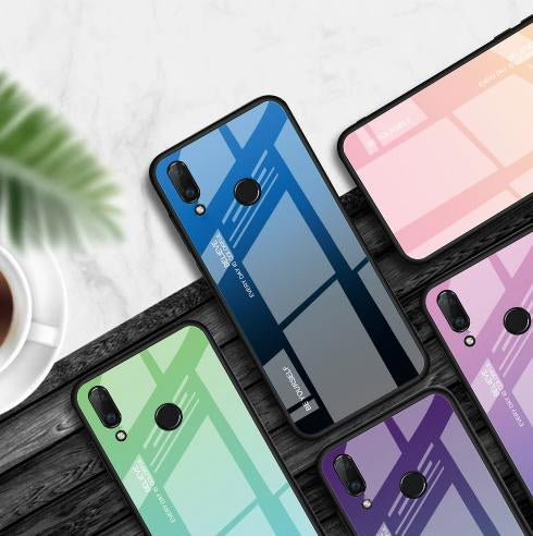 Vivo Y91 Dual Shade Gradient Color Toughened 5D Back Glass Rainbow Case