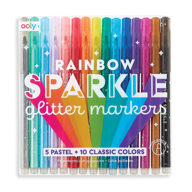 Ooly Rainbow Sparkle Glitter Markers: Set of 15