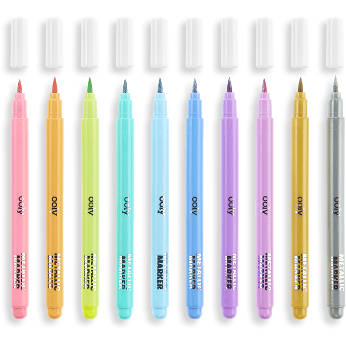 Ooly Color Lustre Metallic Brush Markers: Set of 10