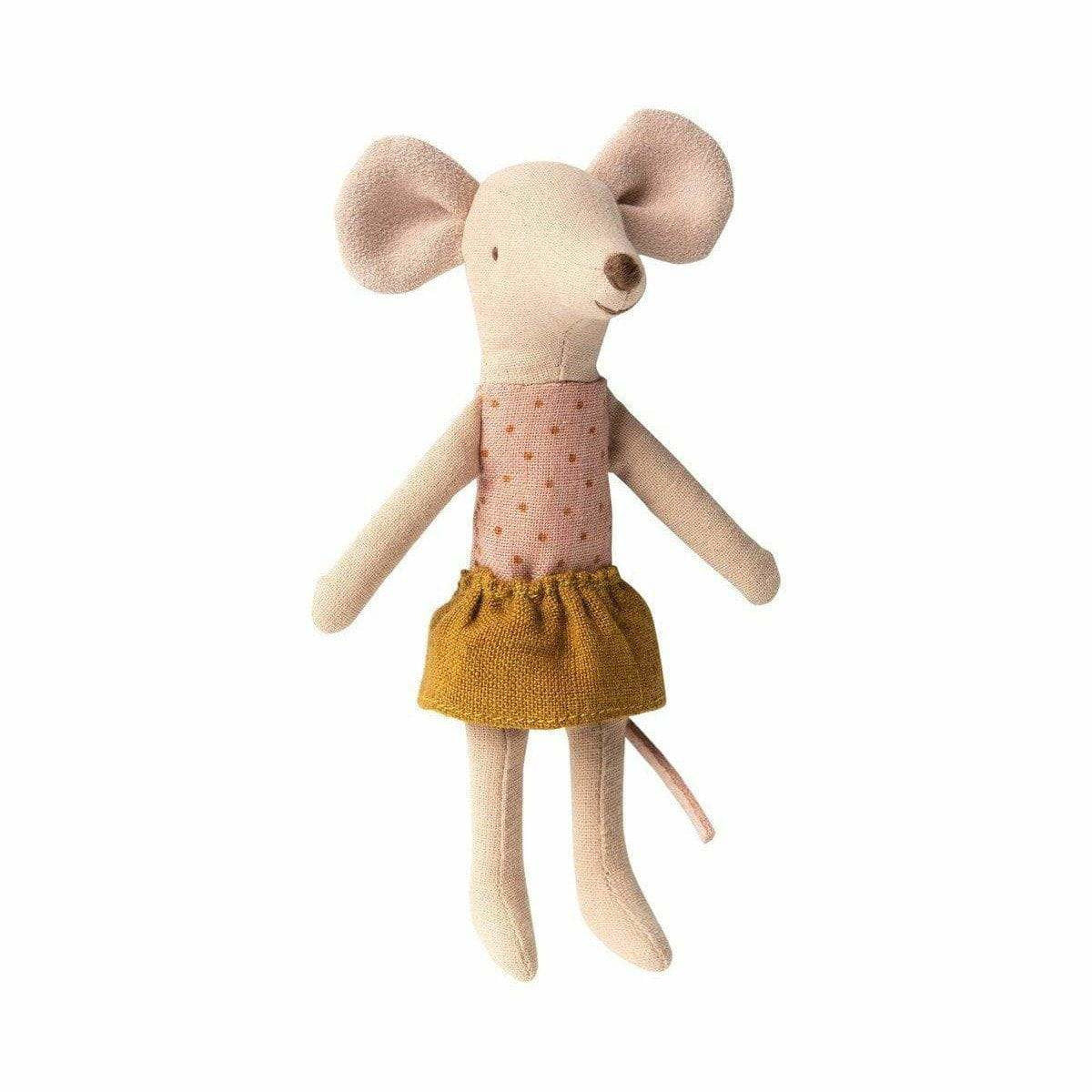 Maileg Big Sister Mouse In Box: Gold Skirt