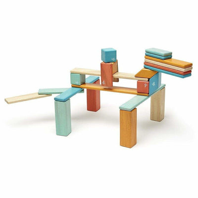 Tegu 24 Piece Magnetic Wooden Block Set: Sunset
