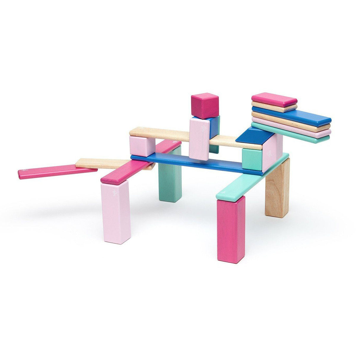 Tegu 24 Piece Magnetic Wooden Block Set: Blossom