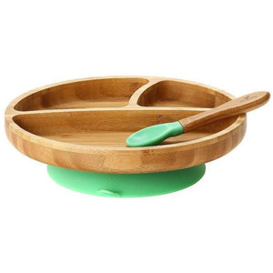 Avanchy Toddler Plate + Spoon - Green