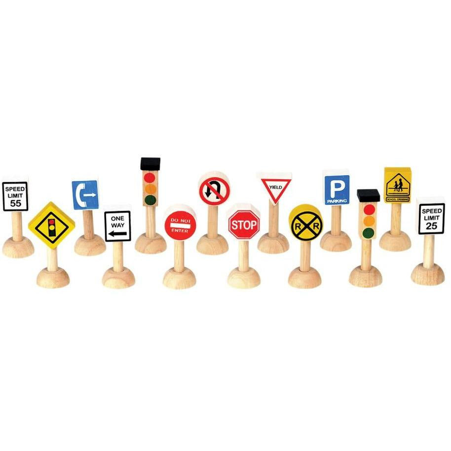 Plan Toys Set of Traffic Signs & Lights USA