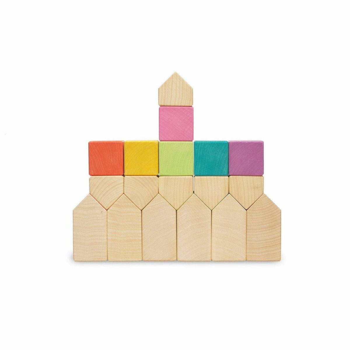 Ocamora Little Wooden Houses & Cubes: Rainbow