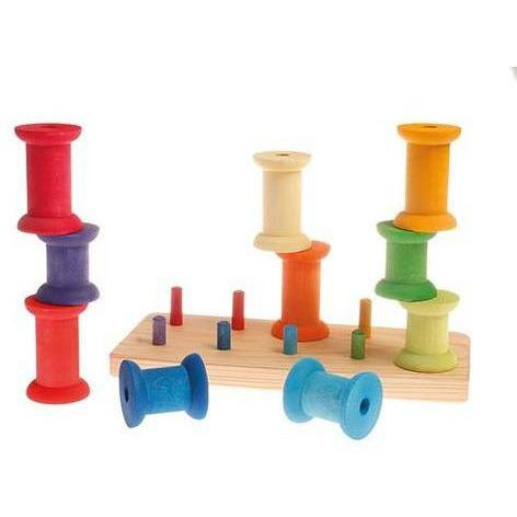 Grimm's Stacking Game Large Bobbins - Rainbow
