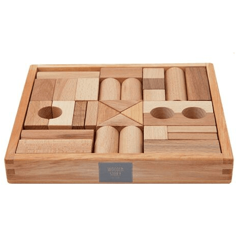 Wooden Story - Natural Blocks In Tray - 30 pcs