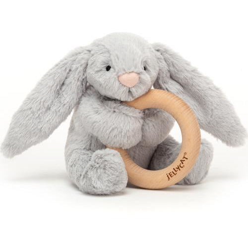 Jellycat Grey Bunny Wooden Ring Rattle