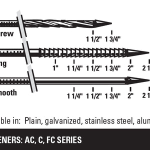 "The IC60-1 can use the AC, C and FC series 15° coil nails with lengths between 1"" and 2/3/8""."