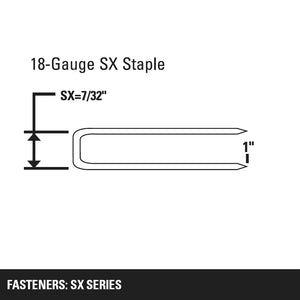 "7/32"" CROWN X 1"" LEG 18 GAUGE SX SERIES STAPLE"