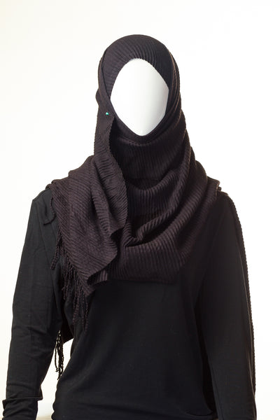 Ribbed Black Berry Hijab