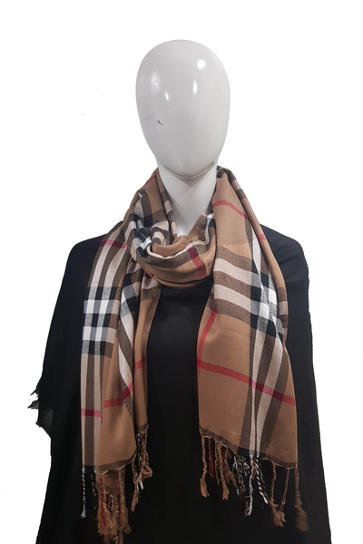 Plain Check Collection Pecan Hijab