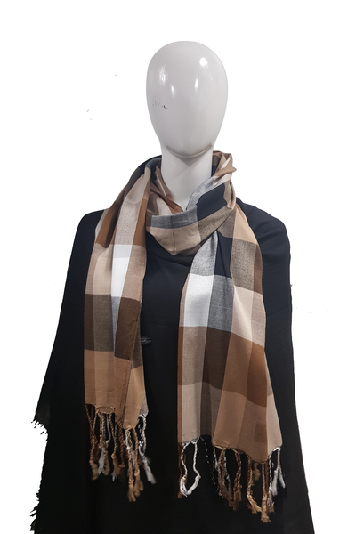 Plain Check Collection Brown Shades Hijab