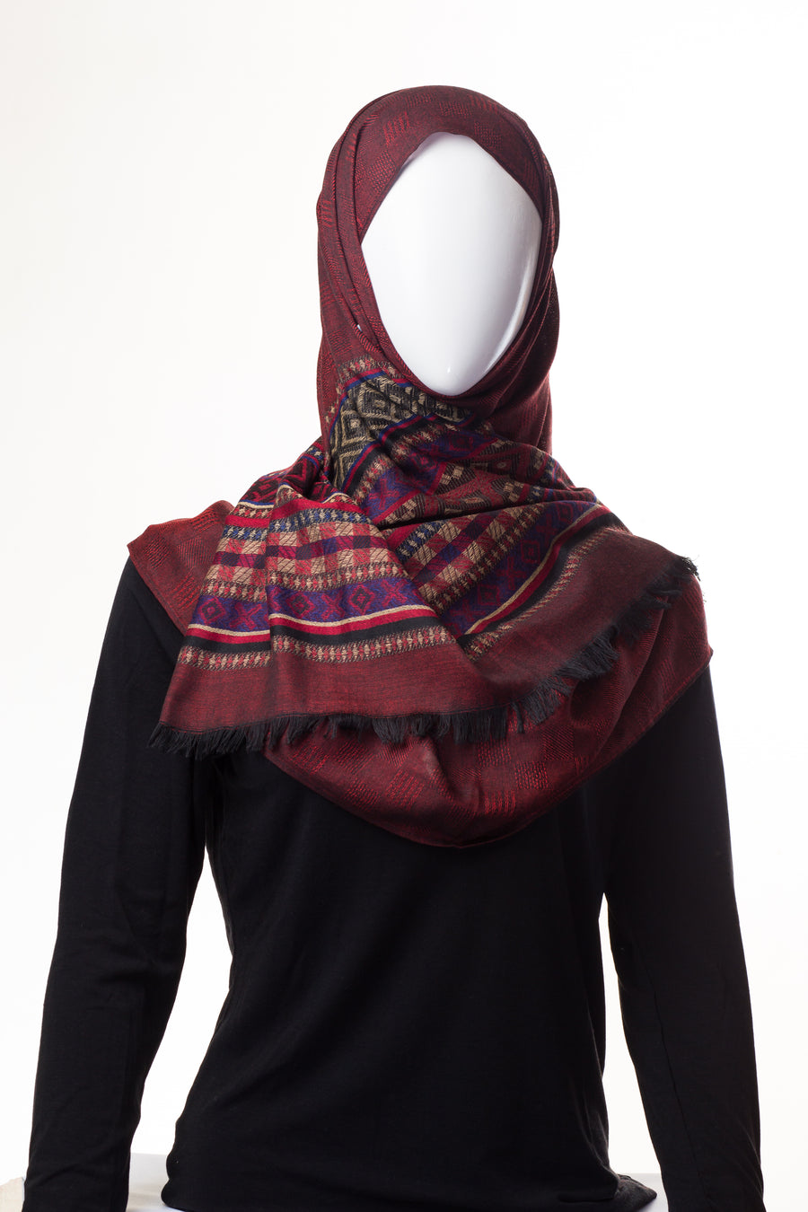 Geometric Collection Mid Maroon Hijab