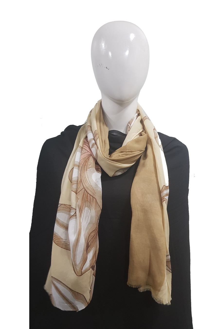 Turkish Printed Lawn Beige Brown Hijab