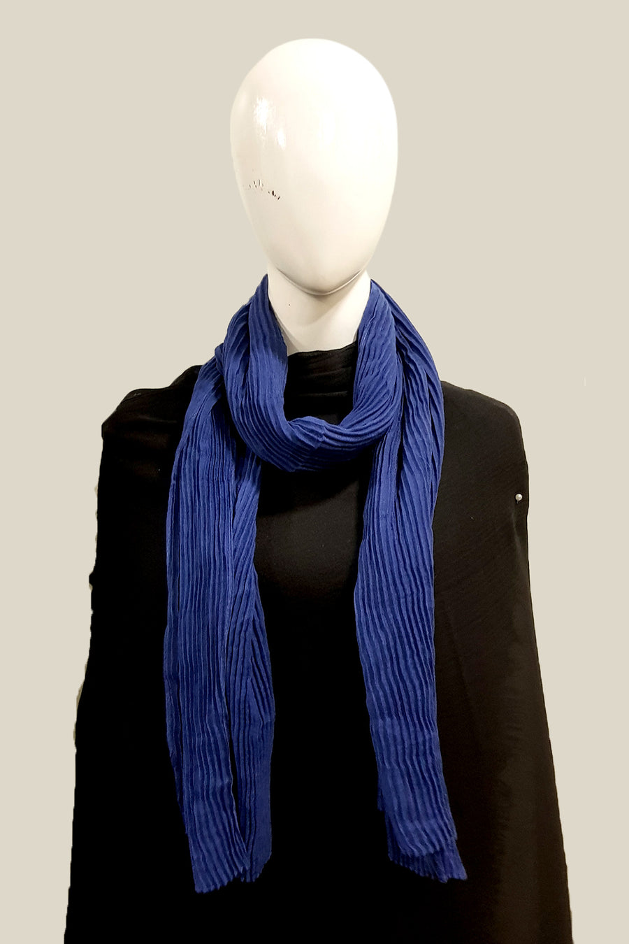 Royal Blue Purely Pleated Viscose Hijab