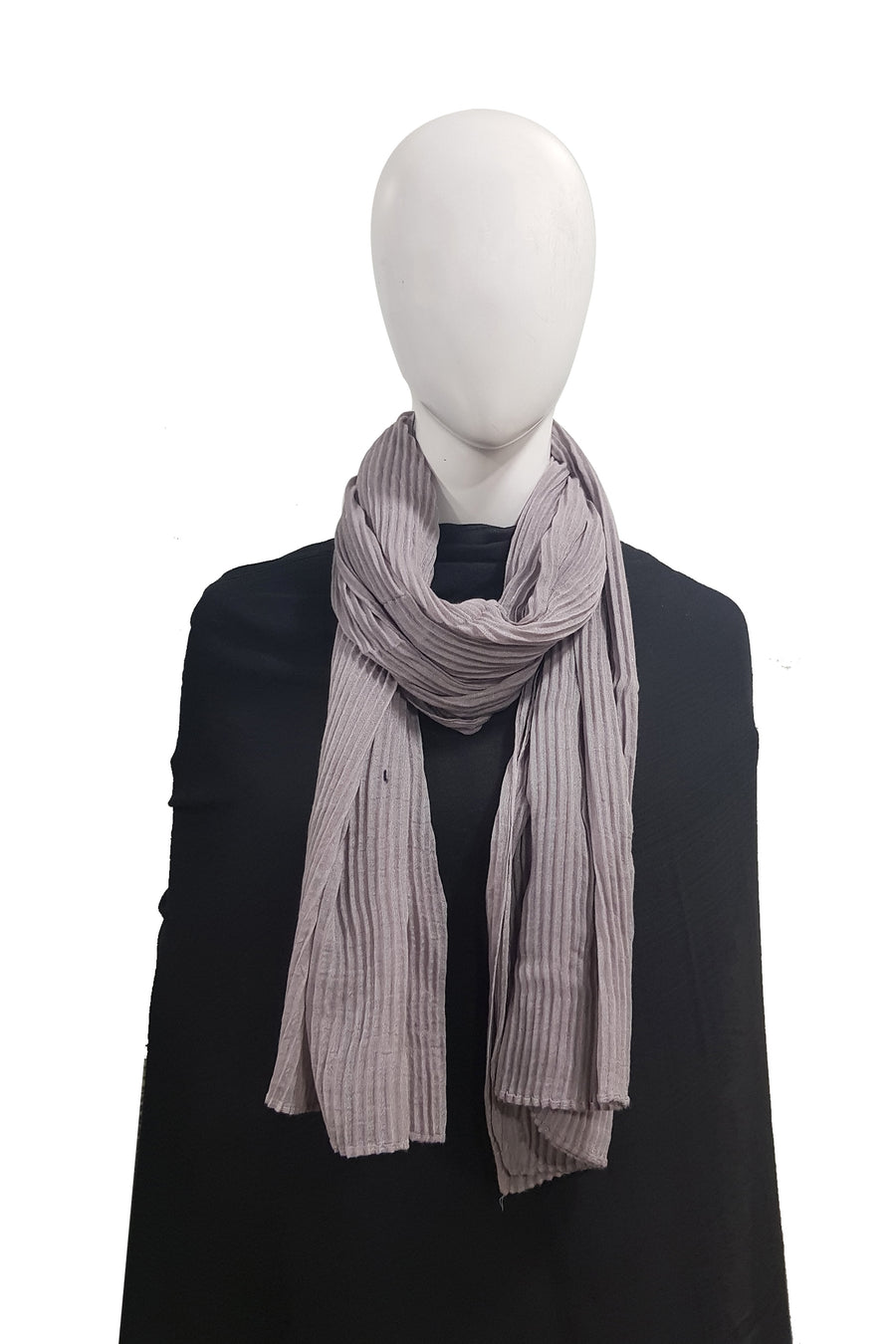 Matte Grey Purely Pleated Viscose Hijab