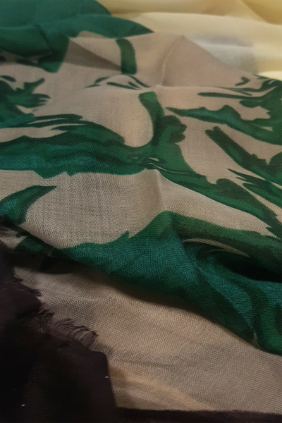 Turkish Printed Lawn Off-white Green Hijab