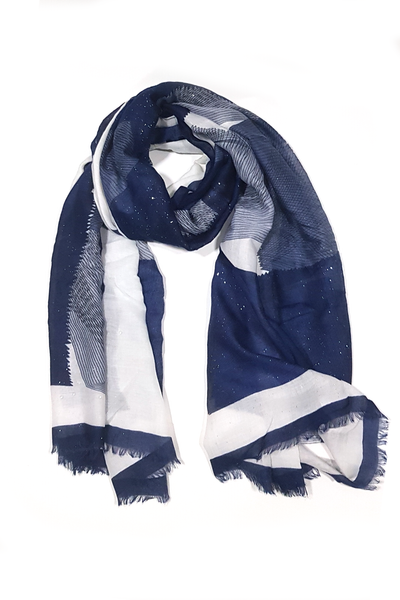 Turkish Printed Lawn Blue- white Zigzag Hijab