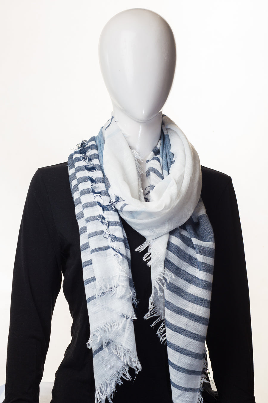 Stripy Viscose Collection Grey and white Hijab
