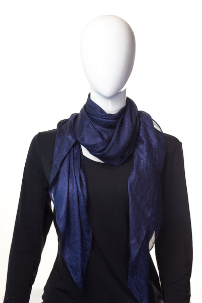 Shiny Chiffon Oxford Blue Hijab