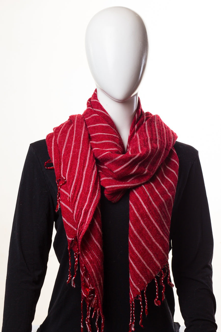 Stripy Wool Garnet Red Hijab