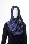 Stripy Wool Black Blue Hijab