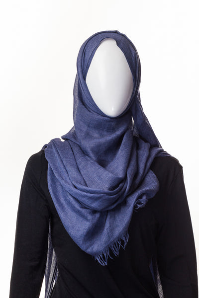 Cotton Candy Collection Black Blue Denim Hijab