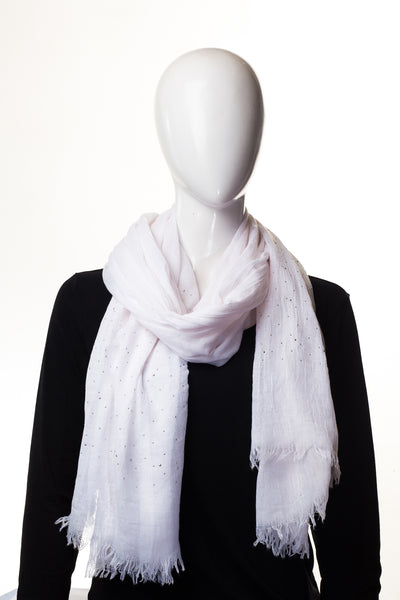 Sparking Viscose Floral White Hijab