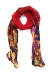 Floral tie n dye red-blue