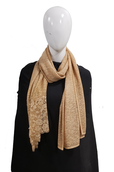 fancy net light brown hijab
