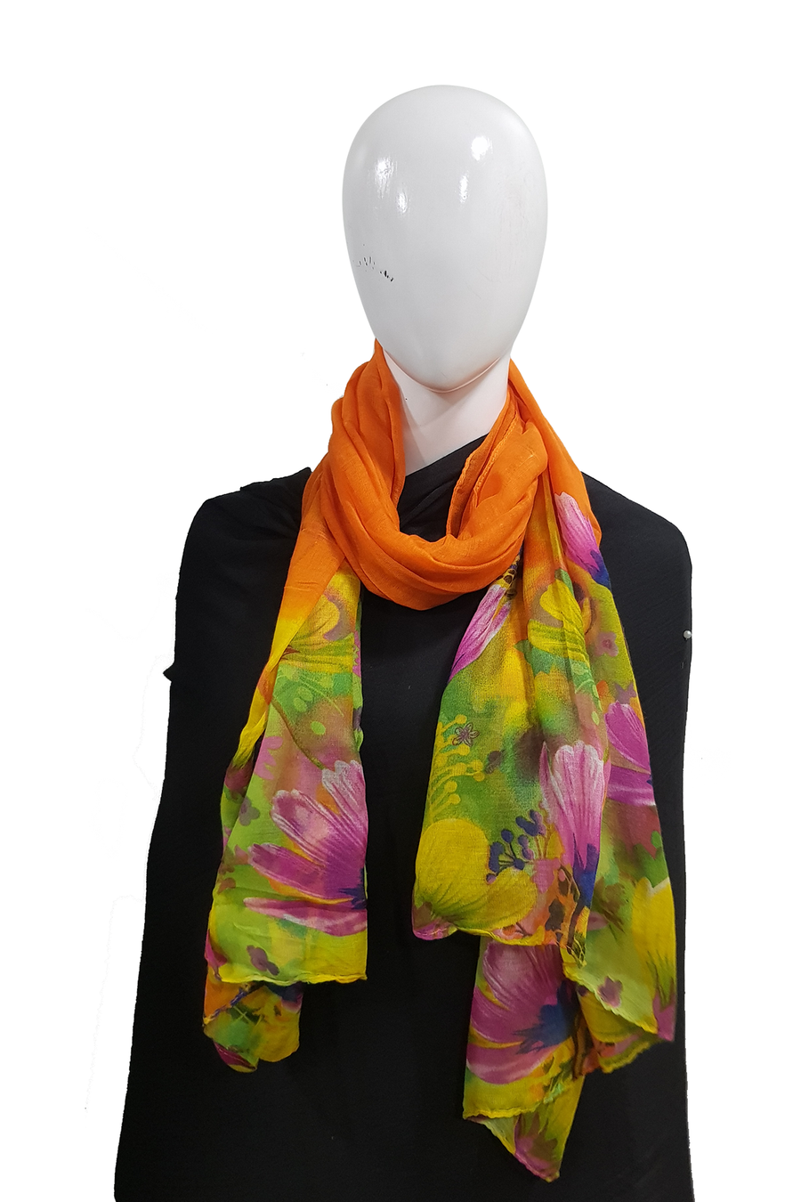 Floral tie n dye bright orange