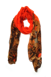 Floral tie n dye orange brown