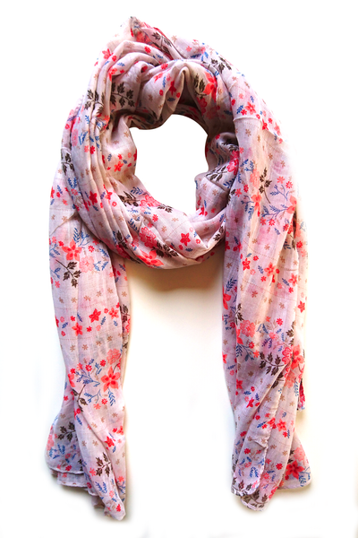 Soft color casuals flower pattern faded pink hijab