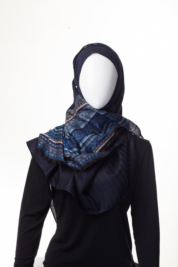 Multi Pattern Combo Blue Hijab