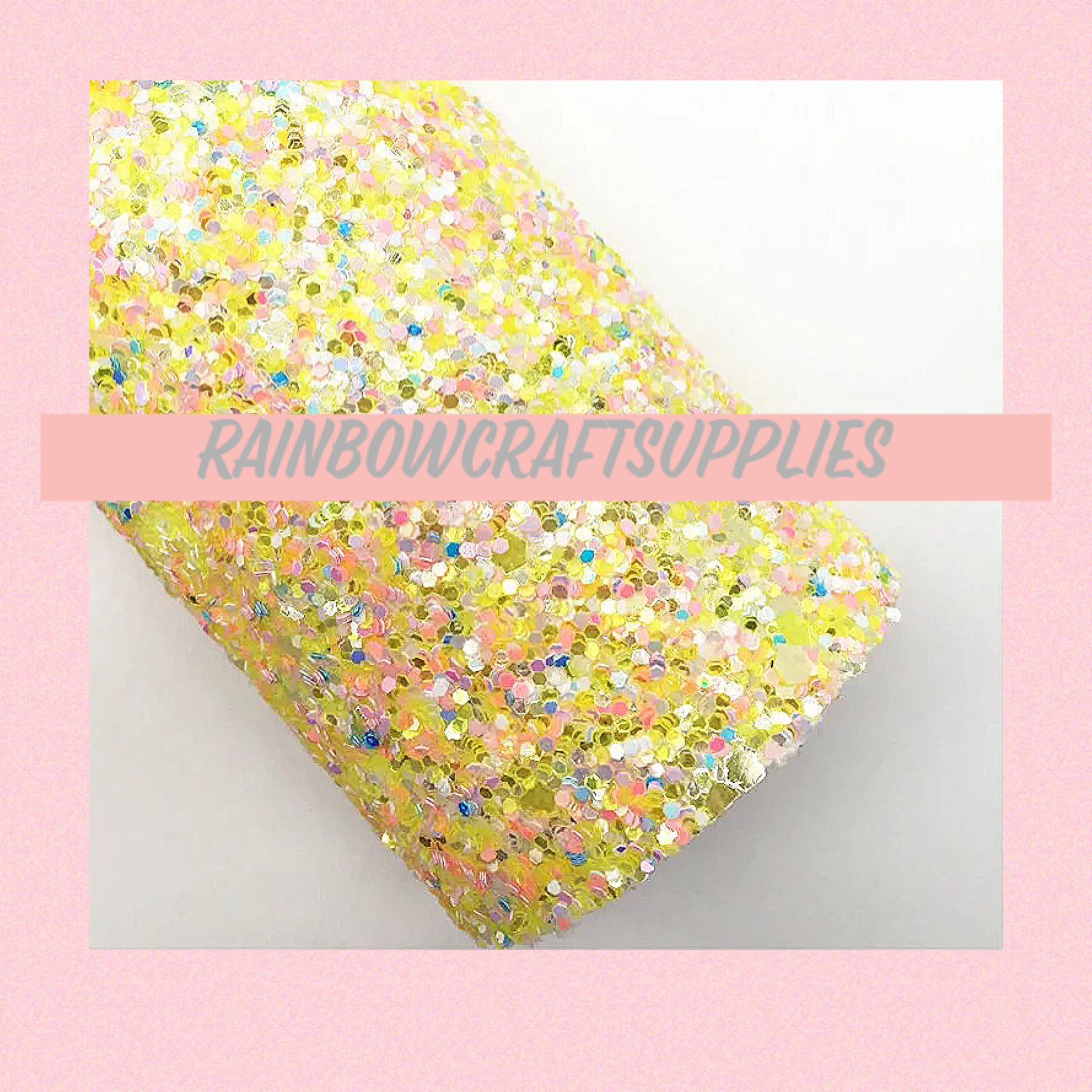 Lemon lush mixed chunky glitter fabric A4