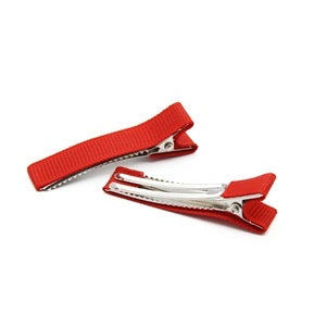 5 x red lined alligator clips 45 mm