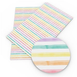 Pastel water colour rainbow stripe leatherette fabric