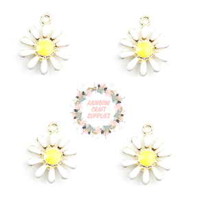 Cute mini alloy daisy charm    13 mm x 16mm