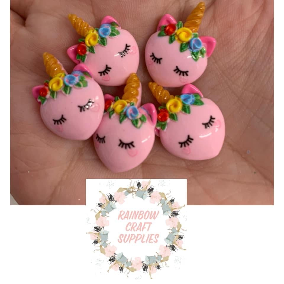 Sleepy unicorn unicorn flatback Embellishments x 5