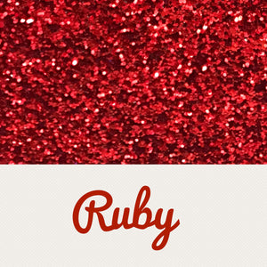 Ruby red chunky glitter fabric A4