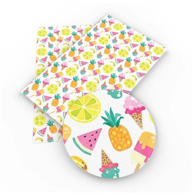 Fruit salad and ice cream summer patterned leatherette fabric 35 x 21 cm