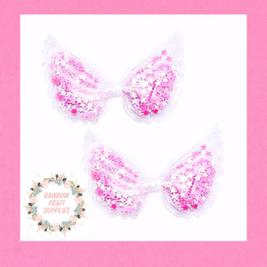 Hot  pink sequin filled angel wing Embellishment
