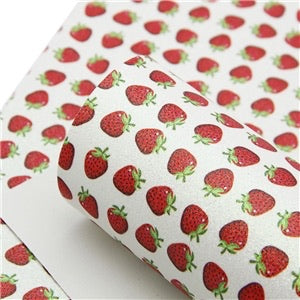 Strawberry patterned fine glitter fabric