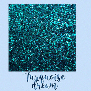 Turquoise dream chunky glitter fabric
