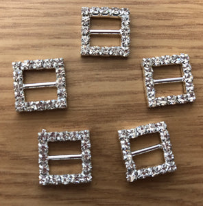 Diamanté slider square buckle. 5 pack