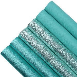 6 piece turquoise blue series glitter and leatherette A4