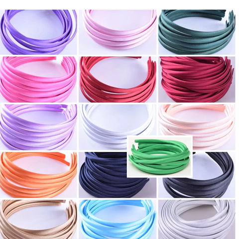 10 mm satin headbands (15 colours )