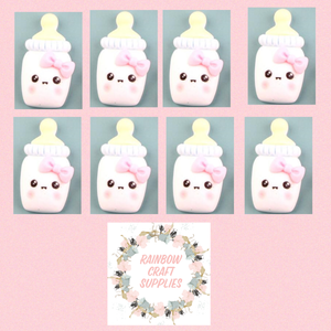 4 x cute baby bottle  flatback Embellishments