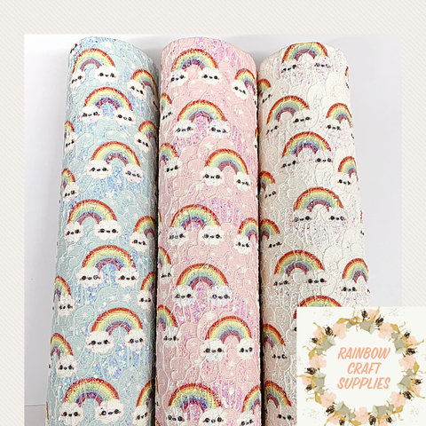 Rainbow lace glitter fabric A4